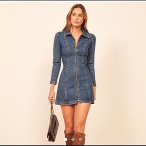 Reformation Denim Zip Up Dress
